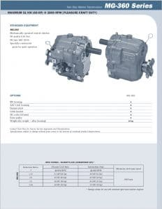 Twin Disc MG360 Marine Transmission Bulletin Technical Information Sheet
