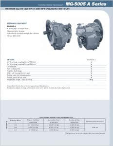 Twin Disc MG5005A Marine Transmission Bulletin Technical Information Sheet