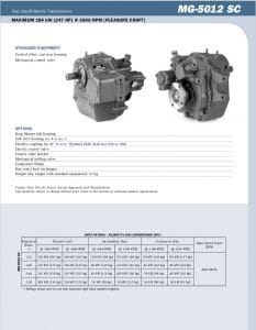 Twin Disc MG5012SC Bulletin Technical Information Sheet