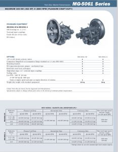 Twin Disc MG5061 marine transmission Information Sheet