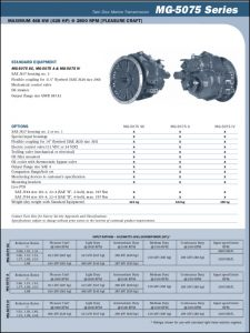 Twin Disc MG5075 marine transmission Information Sheet