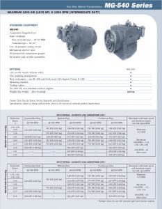 Twin Disc MG540 Marine Transmission Bulletin Technical Information Sheet