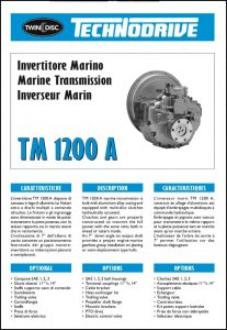 Twin Disc TM 1200A marine trtansmission Technical Sheet