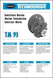 Twin Disc TM 93 marine transmission Brochure