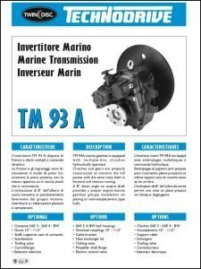 Twin Disc TM 93A marine transmission Brochure