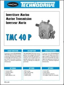 Twin Disc TMC 40P marine transmission Technical Sheet