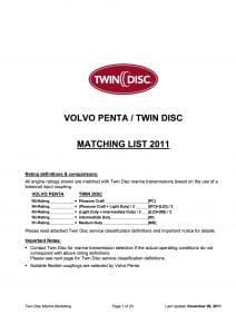 Twin Disc Volvo diesel engine Matching List 2011