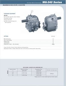Twin Disc MG340 Marine Transmission Information Sheet