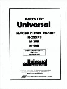 Universal M-25XPB marine diesel Parts List