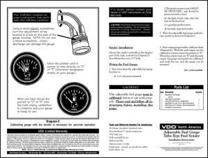 VDO Adjustable Fuel Sender Installation Instructions