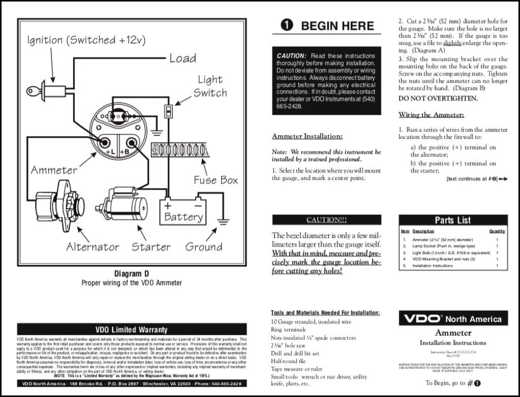Vdo Ammeter Installation Instructions