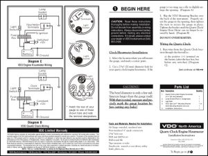 VDO Clock Hourmeter Installation Instructions