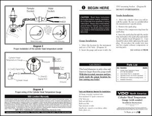 VDO Cylinder Head Temperature Gauge Installation Instructions