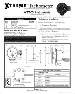 VDO Extreme Tachometer Installation Instructions