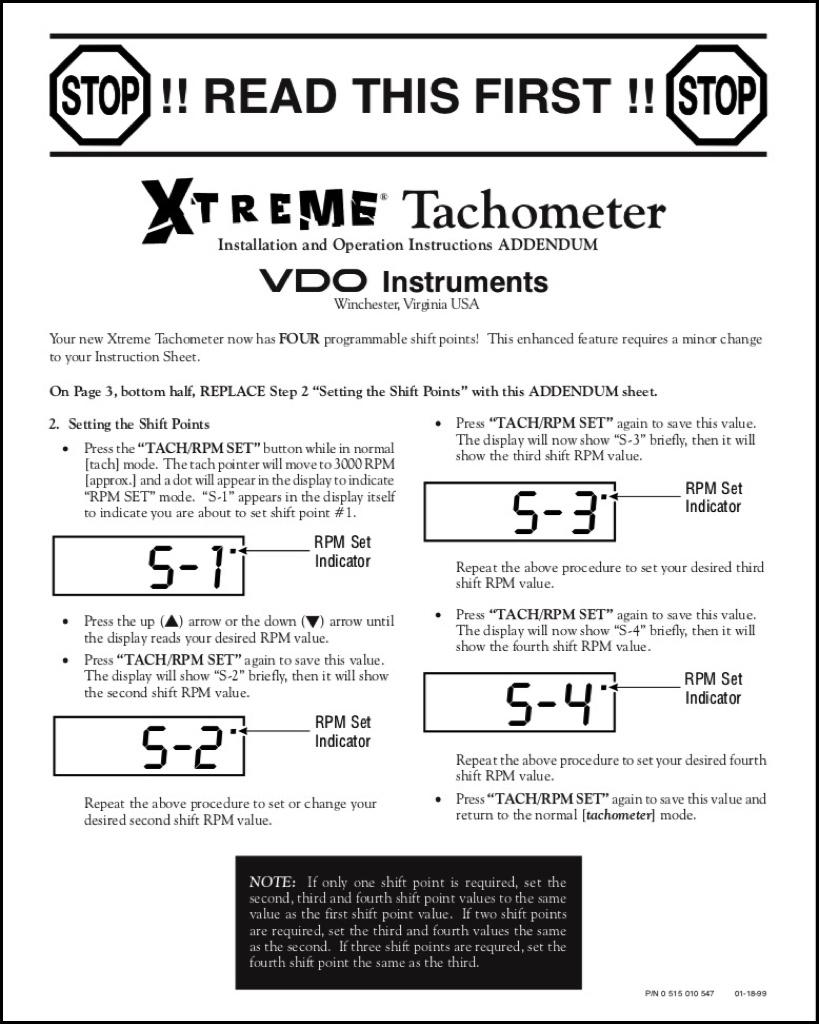 Vdo Extreme Tachometer Installation Instructions Read