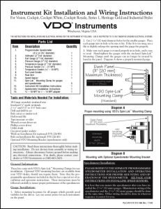 VDO Instrument Vision Installation Instructions