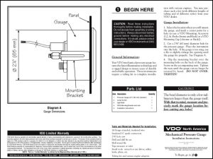 VDO Mechanical Pressure Gauge Installation Instructions