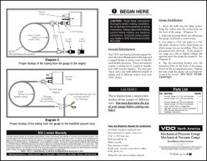 VDO Mechanical Pressure Vacuum Installation Instructions