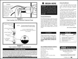 VDO Mechanical Temperature Gauge Installation Instructions