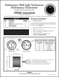 VDO Performance Tachometer Installation & Operation Instructions