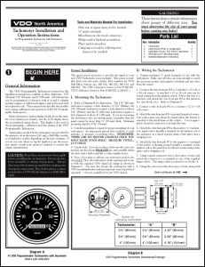 VDO Programmable Tachometer Installation Operation Instructions
