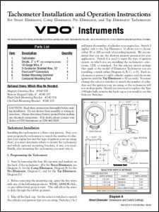 VDO Street Eliminator Tachometer Installation Instructions 2000