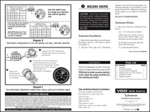 VDO Tachometer Installation Instructions