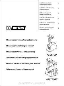 Vetus AFSTTOP remote engine control Installation Instructions and Operation Manual