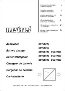 Vetus BC120202 Battery Charger Operation Manual and Installation Instructions