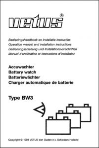 Vetus BW3 Battery Watch Operation Manual & Installation Instructions
