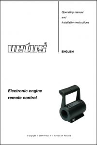Vetus engine Electronic Remote Control Operating Manual & Installation Instructions