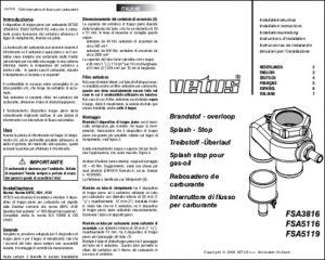 Vetus FSA3816 Fuel Splash Guard Installation Instructions