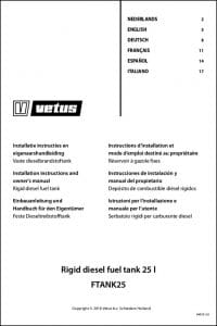 Vetus FTANK25 rigid tank Installation Instructions & Owner's Manual