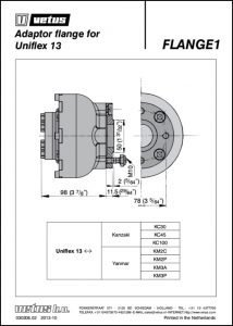 Vetus adaptor Flange Uniflex 13 Drawing