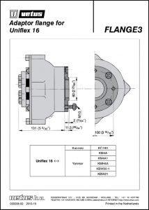 Vetus adaptor Flange 3 Drawing