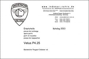 Vetus P4.25 Diesel Engine Parts Catalogue 2013