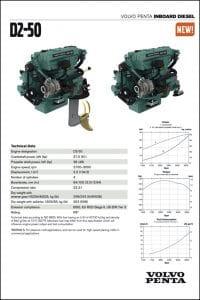 Volvo D2-50 marine diesel engine Technical Sheet