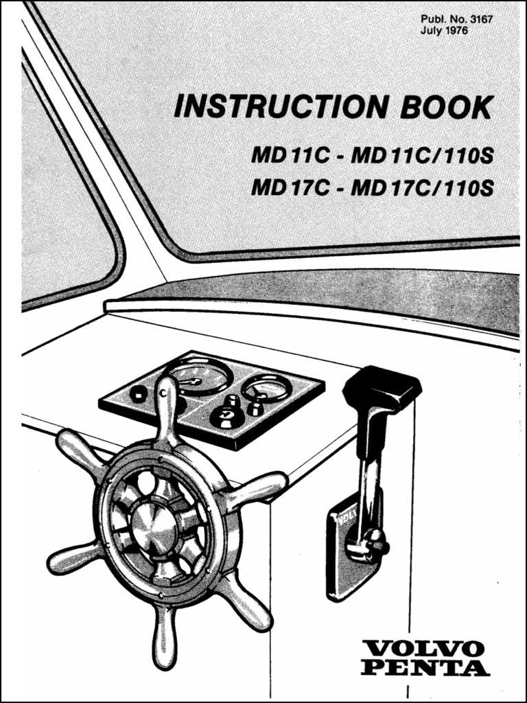 Volvo Penta Diesel Engine MD11C Instructions Manual 1976