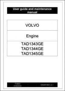 Volvo TAD1343GE diesel engine User Guide & Maintenance Manual