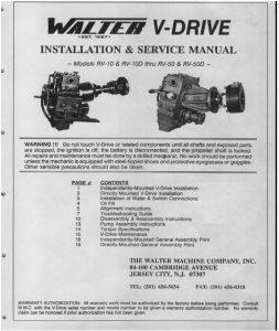 Walter V-drive RV10 marine transmission Installation and Service Manual