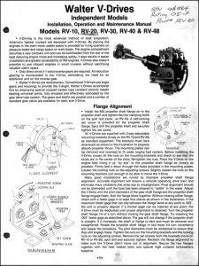 Walter V-drive Rv-10 Short Version Marine Transmission Installation and Service Manual
