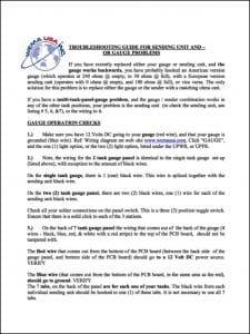 Weema Fuel Sender Troubleshooting Guide