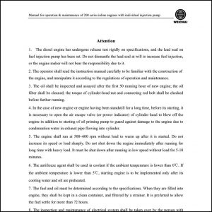 Weichai 200 Series diesel engine Operation Manual