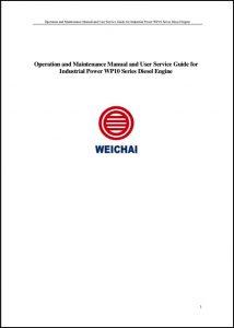 Weichai WP10 Series diesel engne Operation & Maintenance manual