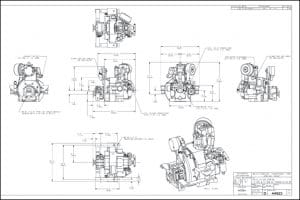 Westerbeke 11A One marine diesel with HBW40 transmission Drawing