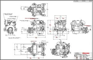 Westerbeke 12D marine diesel engine with PRM 120 transmission Installation Drawing