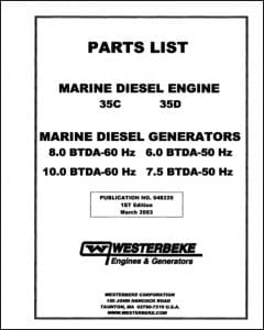 Westerbeke 35C Marine Diesel Engine Parts List