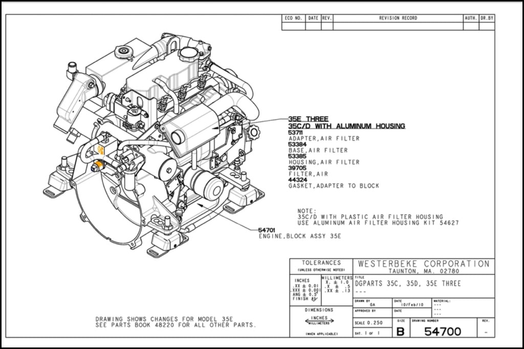 Westerbeke 35E Three Marine Diesel Engine Drawing