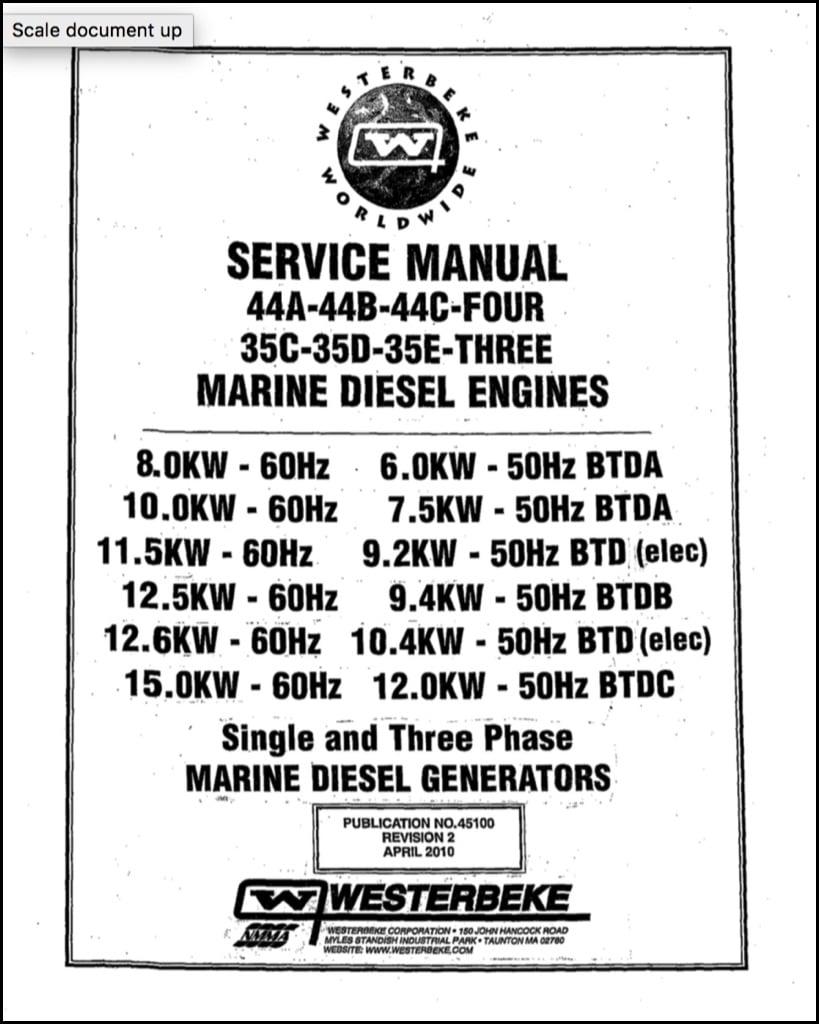 Westerbeke 44A Four Marine Diesel Engine Service Manual