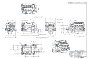 Westerbeke 55B Four marine diesen engine Installation Drawing